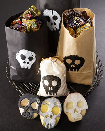 skull potato stamps on brown bags - great idea, and you can