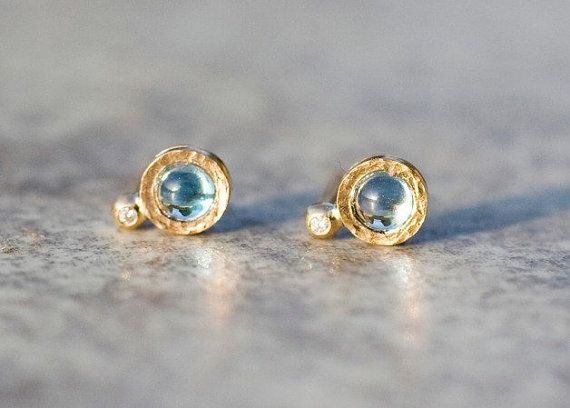 Blue topaz and diamond stud earrings handcrafted in 14k by ARPELC