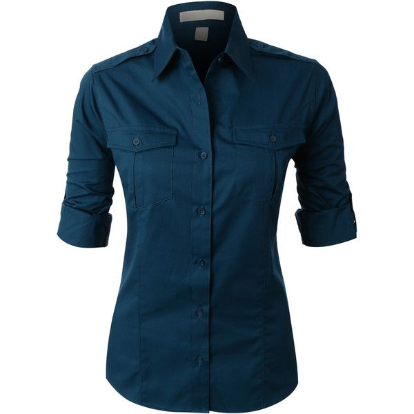 LE3NO PREMIUM Womens Easy Care Roll Up Sleeve Twill Button Down Shirt ($28) ❤ liked on Polyvore featuring tops, button down tops, twill shirt, roll up shirt, shiny shirt and blue top
