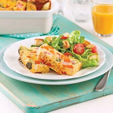 Omelette au four à la patate douce, jambon et brocoli - Brunchs - Recettes 5-15 - Express - Pratico Pratiques