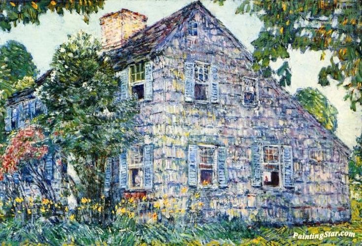 Old House, East Hampton Artwork by Frederick Childe Hassam Hand-painted and Art Prints on canvas for sale,you can custom the size and frame