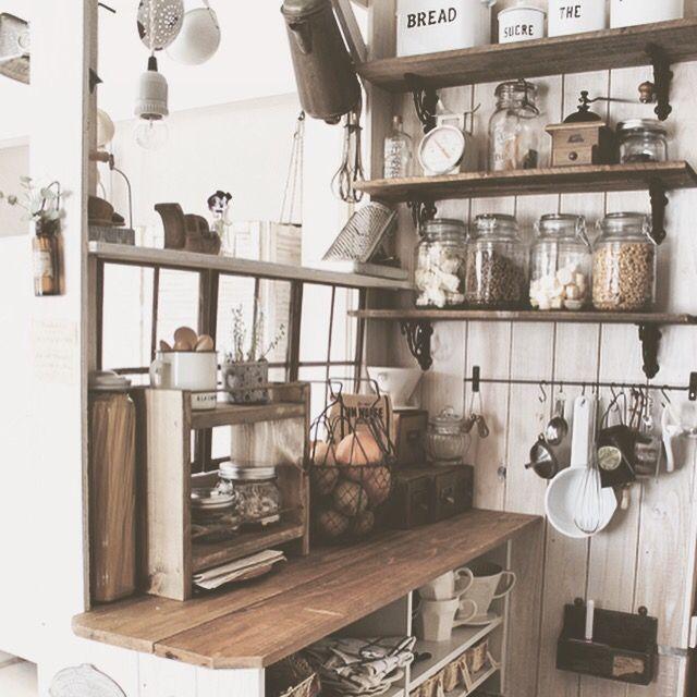 ai.ちゃん棚/DIY/キッチンカウンターDIY/キッチンカウンターの裏側/カフェ風キッチン…などのインテリア実例 - 2015-04-13 16:16:12 | RoomClip(ルームクリップ)