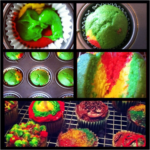 Rasta style cupcakes I made for my son last weekend. Divide batter into 3 parts and dye accordingly. Use gels for better texture. Spoon teaspoon of each into cups and bake as directed.