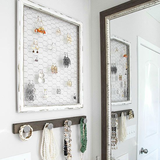 A wall-mounted jewelry organizer will prevent you from having tangled necklaces and forgotten earrings at the bottom of your jewelry box.