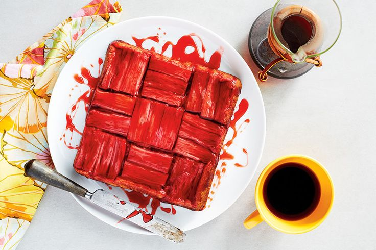 With its cross-hatch pattern, this ruby-red cake makes a striking finale to brunch.