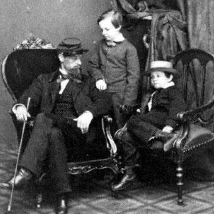 Mary Todd Lincoln's cousin, Lockwood M. Todd, with Willie (standing) and Tad in 1861 (Chicago History Museum)