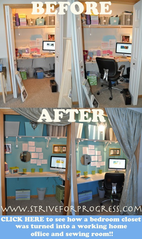 CLICK the image above to see how a bedroom's closet was turned into a working home office and sewing room! closet office, closet turned office http://www.striveforprogress.com/closet-turned-into-an-office/