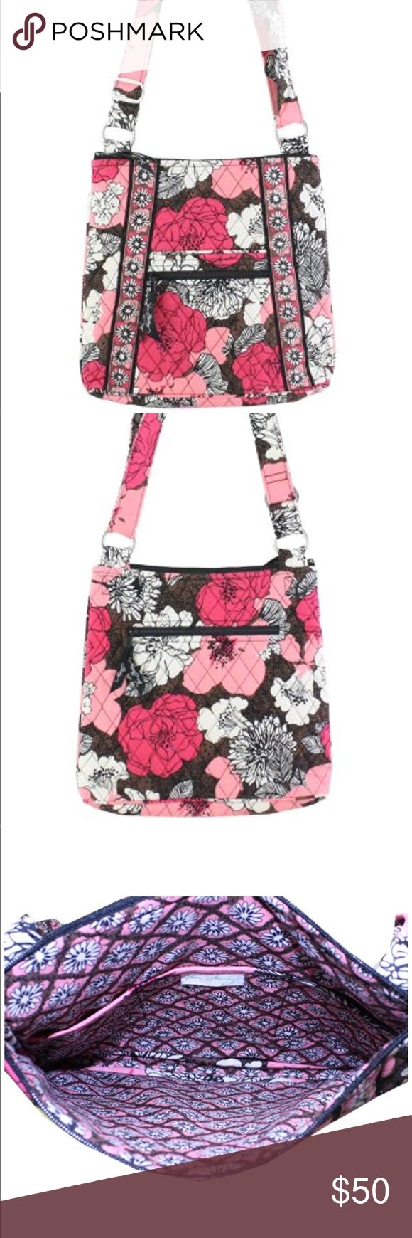 Vera Bradley Hipster Cross-Body Bag Vera Bradley's Hipster is the ultimate cross-body bag. There is a quick-access front open slip and zippered pocket, as well as a zip pocket on the back to keep phone and keys secure. Three slip pockets add to the organization inside the main zippered compartment. It features a fully adjustable shoulder and cross-body strap and measures approximately 10 inches (L) x 10.5 inches (H) x 2 inches (W). Patterns with solid color interiors are designed and…