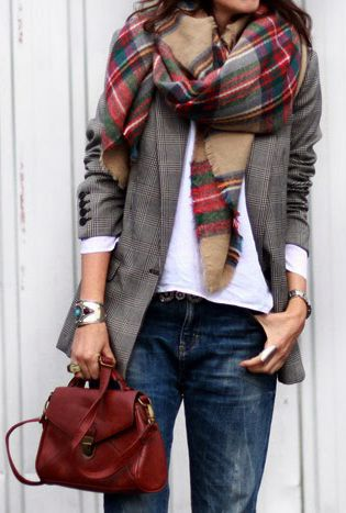 Jeans, white tee, long blazer, plaid scarf, oxblood handbag.