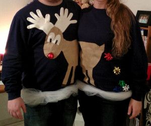 LOL I am sure someone would enjoy this! Easy Reindeer Couples Ugly Sweater | AllFreeHolidayCrafts.com
