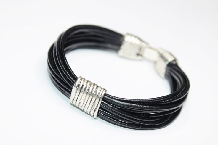 Czarna bransoletka z rzemieni - ELMAR0 - Bransoletki