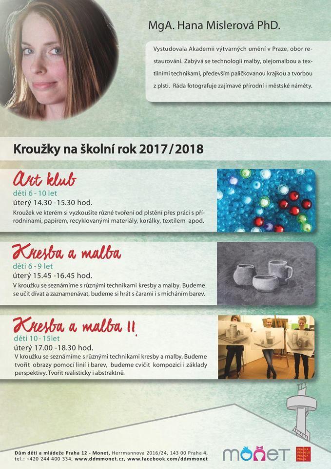 Pozvánka do DDM Praha 12 - Monet, kde naše lektorka kreativního odpoledne Hana Mislerová, povede výtvarné kroužky pro různé věkové kategorie dětí  💛🍀🎨🖍️😊
