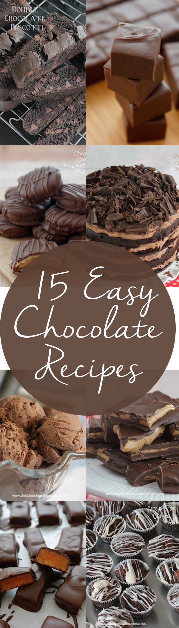 15 Easy Chocolate Recipes for when those chocolate cravings hit! Cookies, candy, cake, ice cream, dip, and more. Don't say no to chocolate.