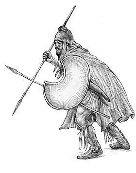Portant le bonnet phrygien(Mithraïque), un  guerrier peltaste de Thrace= mercenaire dans l' infanterie légère. Le mot peltaste est tiré de la pelta, le bouclier à la forme caractéristique.