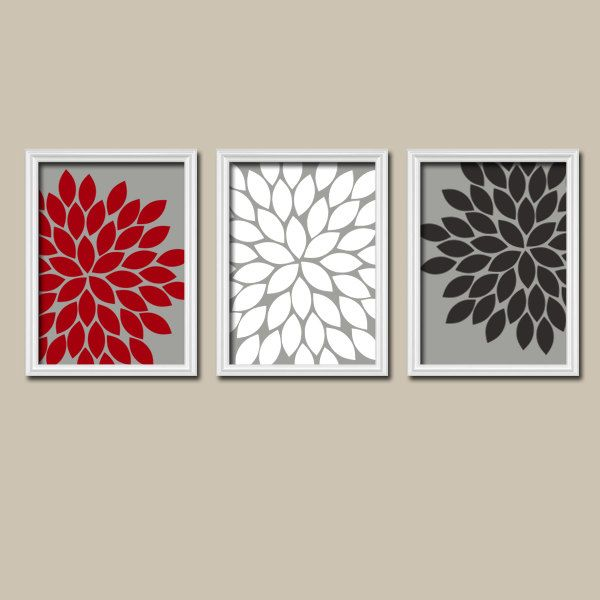 red white black grey charcoal flower burst dahlia bloom artwork set of 3 trio prints wall decor abstract art picture silhouette - Black Grey Red Bedroom Ideas