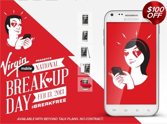 "Virgin Mobile Launches ""National Break-up Day"" Before V-Day"