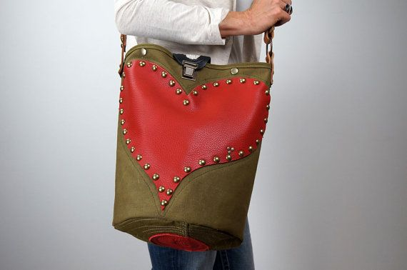 canvas and leather handbag