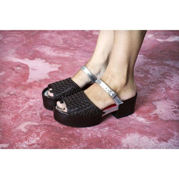 Angel Woven sandal in black and silver leather by Preston Zly