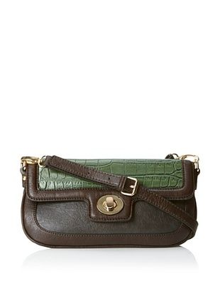 Co-Lab By Christopher Kon Women's Croc Print Flap Mini Cross-Body, Green/Grey, One Size
