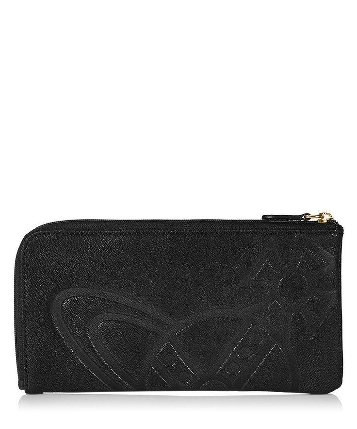 Black embossed leather Orb zip wallet by Vivienne Westwood on secretsales.com