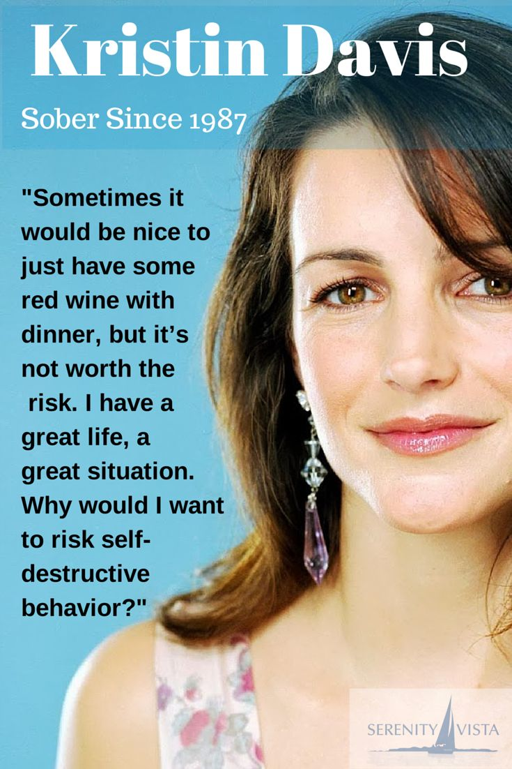 Kristin Davis - Sober Celebrity. A great example of not picking up a drink or a drug, one day at a time, and having an excellent life. Thanks Ms Davis!! If you need help with your sobriety, consider holistic private pay rehab in Panama Paradise, WWW.SERENITYVISTA.COM
