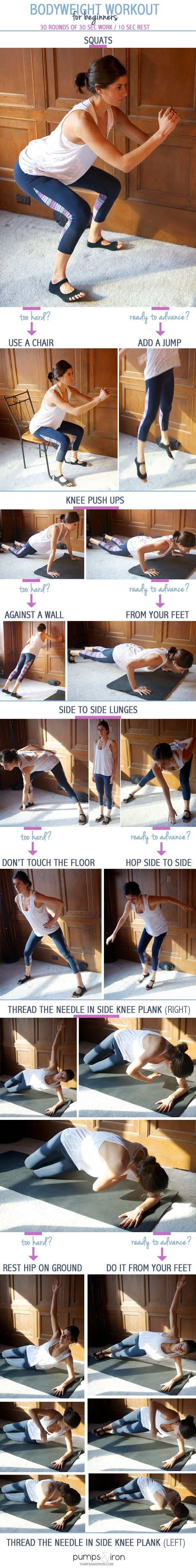 Beginner Bodyweight Interval Workout (with modifications and advancements for each exercise)
