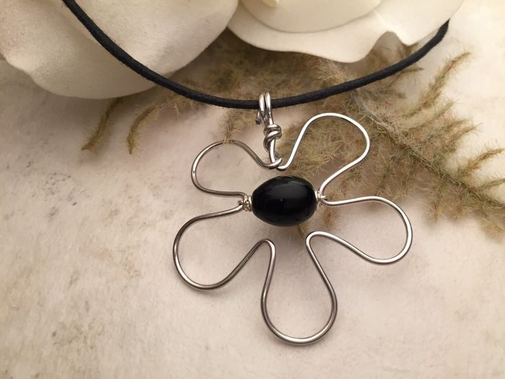 Aluminum Wire Flower Pendant Necklace by TCbyRachel on Etsy https://www.etsy.com/listing/112619821/aluminum-wire-flower-pendant-necklace