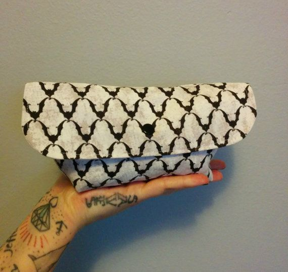 White Bat Mini Clutch with Snap by GraveEndeavours on Etsy