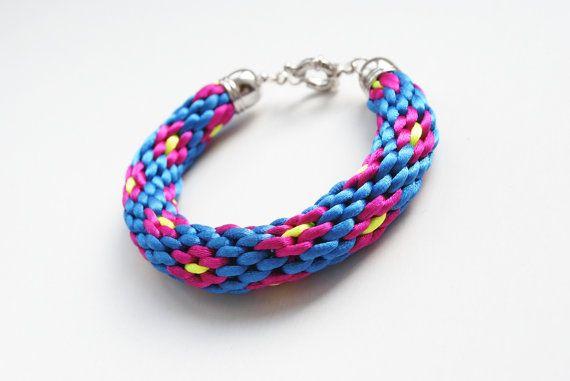 Multicolor kumihimo bracelet blue fuchsia neon by elfinadesign
