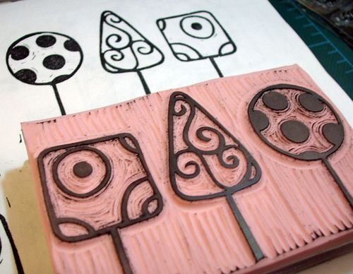 3 Trees by kylanicole, via Flickr  sellos hechos a mano, hand carved stamp