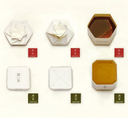 Blooming Cup of Tea: disposable cup and tea packaging via Yanko Design