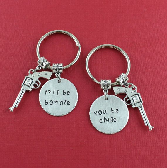 Bonnie and Clyde Keychains  Matching Set by SweetRideAccessories