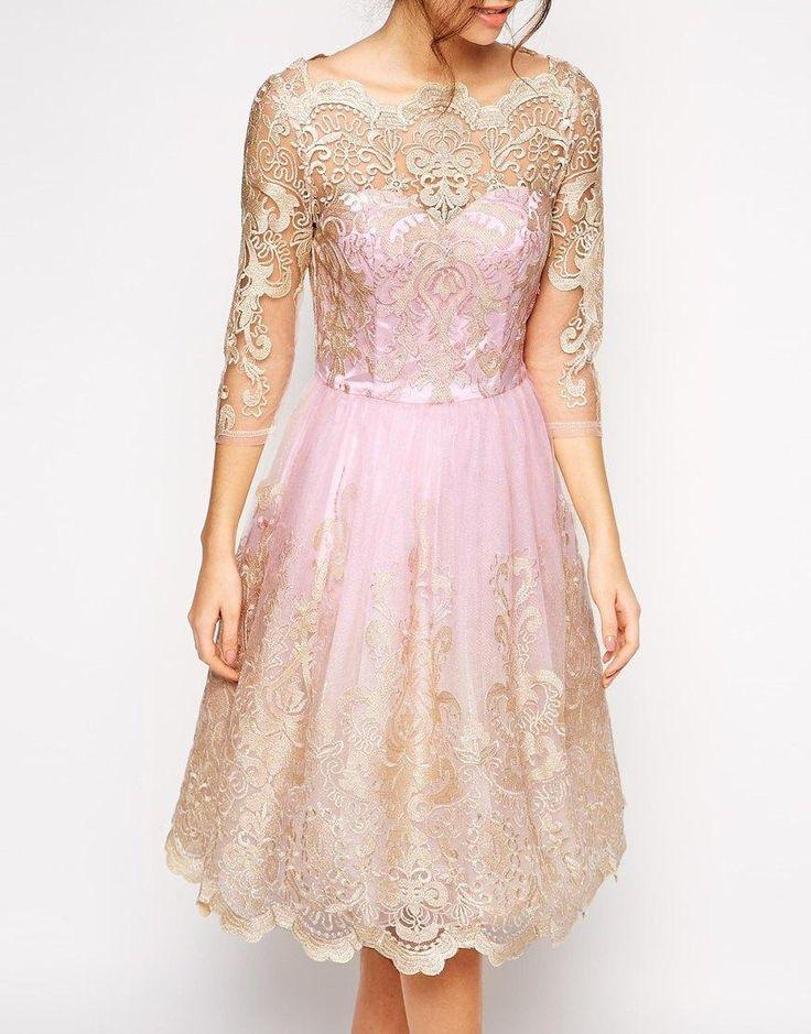 Chi Chi London | Chi Chi London Premium Metallic Lace Prom Dress with Bardot Neck at ASOS