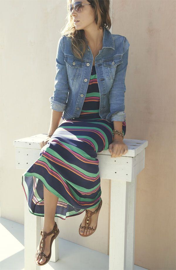 Simple Look: Maxi Dress, Jean Jacket & Spring Sandals