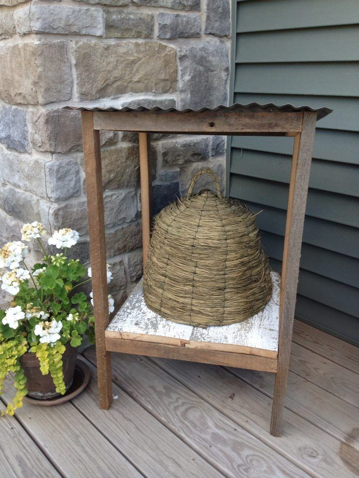 Bee skep and hut my husband made. For sale at *The Farm