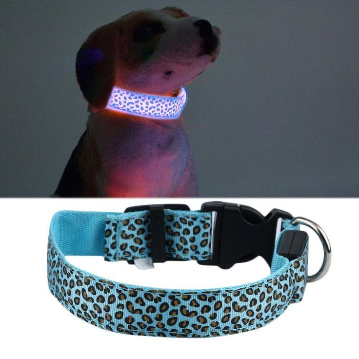 70*3cm Luminous pet LED luminous pet spots Fluorescent luminous leopard dog collar Articles XL Size