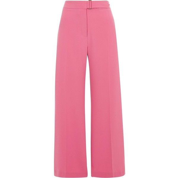 River Island Petite pink wide leg pants ($84) ❤ liked on Polyvore featuring pants, pink, wide leg trousers, women, pink pants, tall pants, creased pants, wide-leg trousers and river island