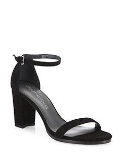 Stuart Weitzman - Nearlynude Suede Block-Heel Sandals