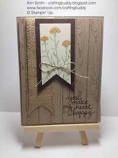 Happy Anniversary card using the Wild about Flowers, Hardwood and Lovely Amazing You Stampin' Up Stamp sets.  Please visit my blog craftingbuddy.blogspot.com for more information on this card.