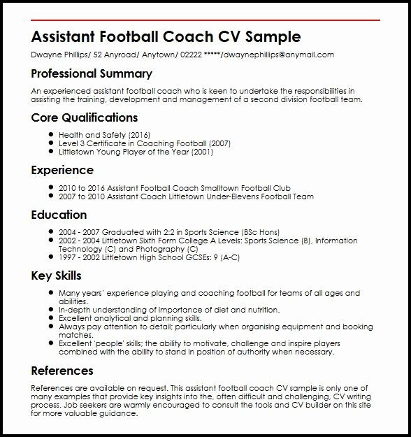 Sports Resume For Coaching New Assistant Football Coach Cv Sample Myperfectcv Football Coach Administrative Assistant Resume Resume Coach