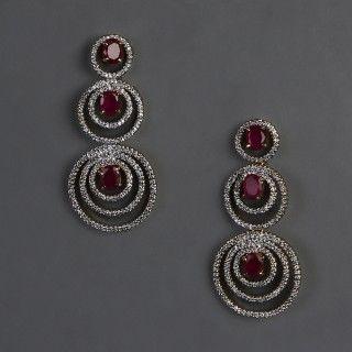 American Diamond & Ruby Earrings