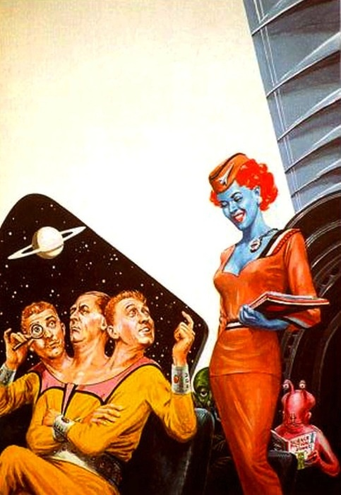 """You seem nice but I can't even a one-headed man to commit, and I ain't getting any bluer"" ..... (Illustration / Retro Futurism - Vintage Sci Fi / Science Fiction)"