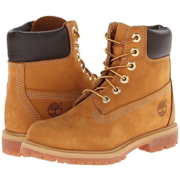 Timberland 6 Premium Boot Women's Lace-up Boots ($170) ❤ liked on Polyvore featuring shoes, boots, ankle booties, timberlands, zapatos, ankle boots, lace up ankle booties, low heel booties, wide booties and short lace up boots