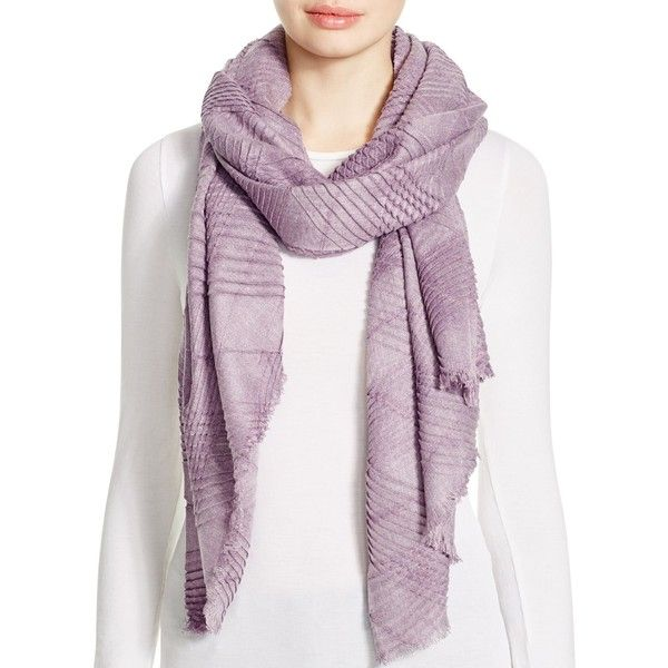 Echo Pleated Wrap Scarf (64 CAD) ❤ liked on Polyvore featuring accessories, scarves, viola heather, wrap shawl, echo scarves and wrap scarves