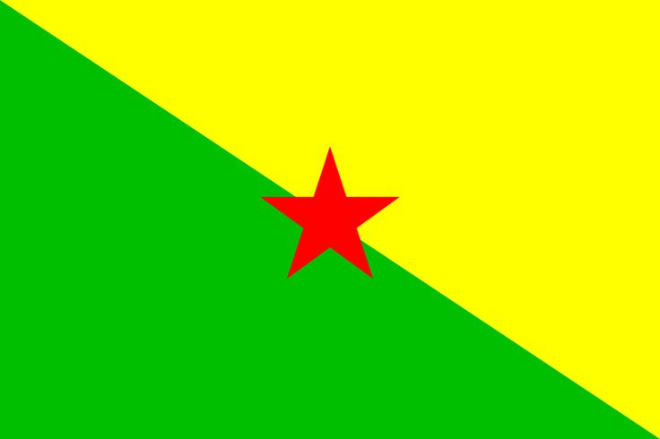 National Flag of French Guiana Flag   The flag of French Guiana, an overseas region of France located in South America, is a white field on which is placed a logo showing a yellow five-pointed star in a patch of blue, over an orange figure in a yellow boat on a patch of green, over two wavy orange lines. Above the logo is inscribed GUYANE, and LA RÉGION below.