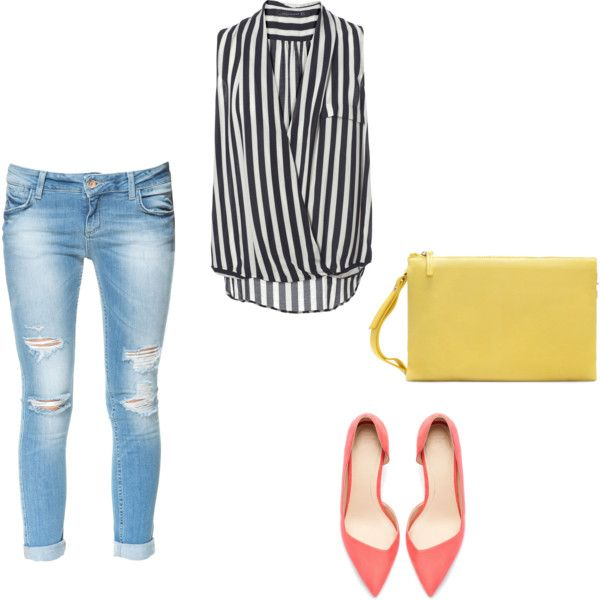 Casual office outfit / Casual fridays #colors #stripes #ripped jeans