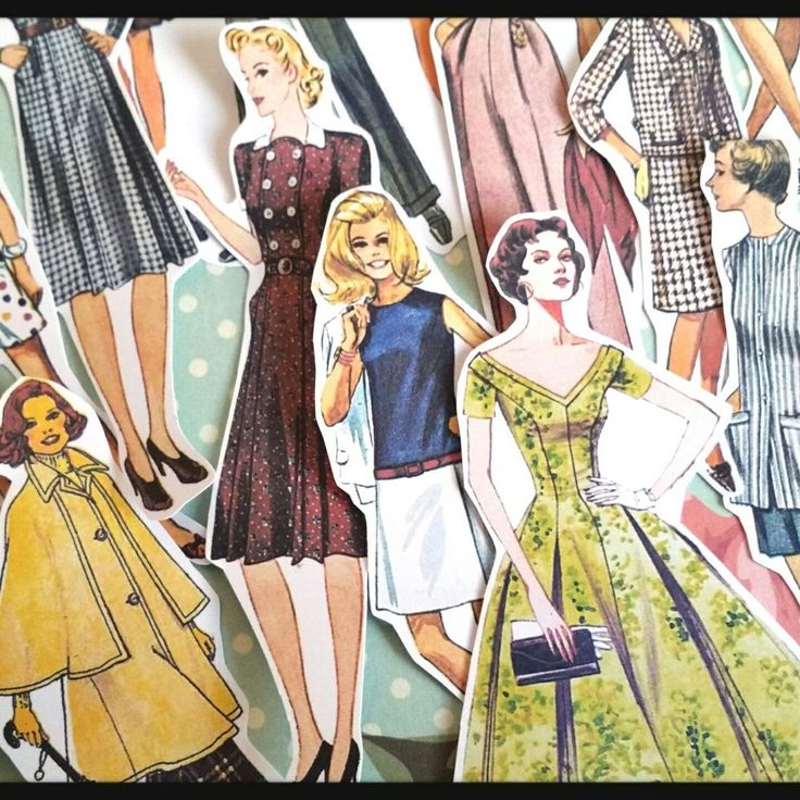 Vintage Paper Dolls Retro Fashion,Die-Cut ephemera,Scrapbook Journal Decoupage