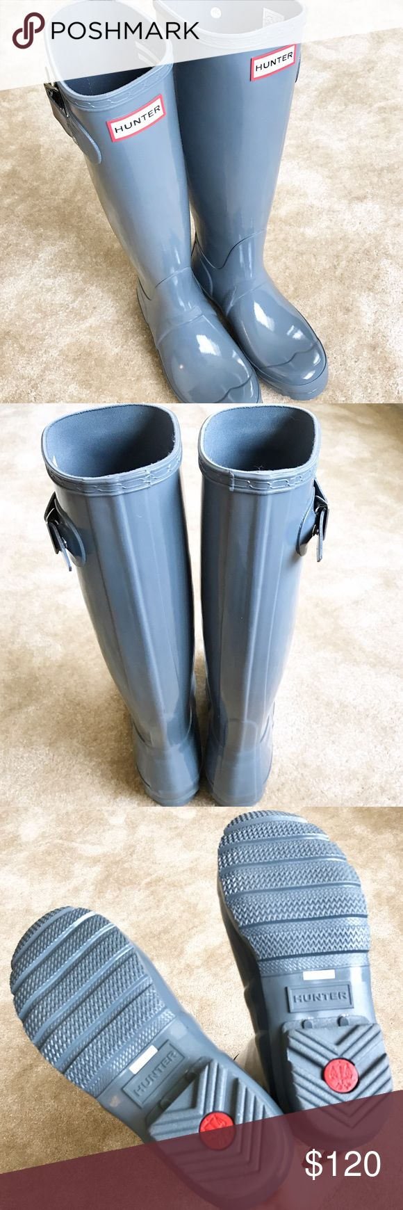 "NWT Hunter Tall Rain Boots NWT Hunter Original tall gloss rain boots. Size 36/US 5; however, Hunter rain boots run big, so they actually fit like a 6. Small mark on right boot buckle, but not really noticeable. Color is ""graphite."" [Excluded from bundle discount] Hunter Shoes"