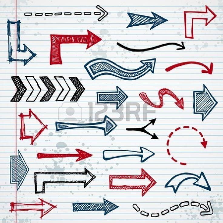 Insieme di forme disegnate freccia su sfondo notepad Archivio Fotografico - 11870041