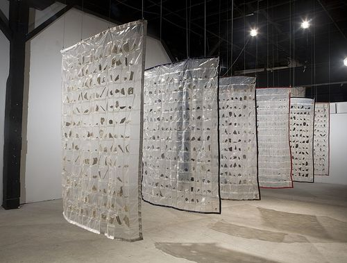 Marie Weichman: LIFE IS IN THE DETAILS: Six Quilts, 2007, Ceramic Shards | Ziplock bags | Thread | Ribbon | Steel | Cable
